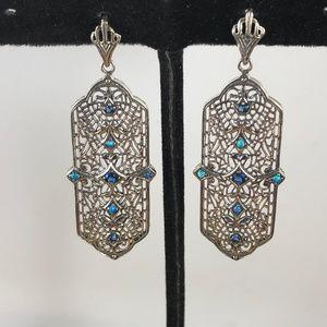 Blue Sapphire & Opal 925 Silver Art Deco Earrings